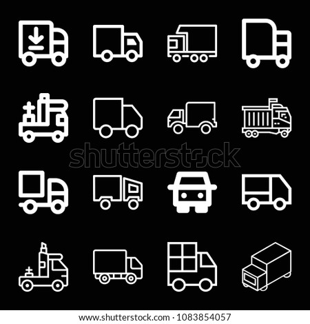 Set of 16 lorry outline icons such as lorry, truck, delivery truck