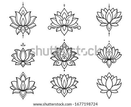 Set of lotus mehndi flower pattern for Henna drawing and tattoo. Decoration in oriental, Indian style. Doodle ornament. Outline hand draw vector illustration. Foto stock ©
