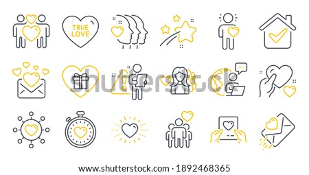 Set of Love icons, such as Romantic gift, Hold heart, True love symbols. Woman love, Friends couple, Friend signs. Heartbeat timer, Heart, Friendship. Dating network line icons. Line icons set. Vector