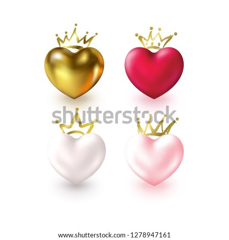 set of love realistic hearts