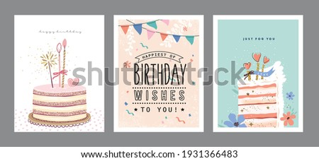 Set of lovely birthday greeting cards with cakes