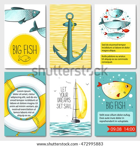 set of 6 lovely cards templates