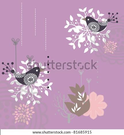 set of lovely garden bird collection - stock vector