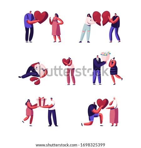 Set of Lovers in Beginning and End of Loving Relations. Young Man and Woman Characters Pull Apart Broken Heart Parts, Dating. Man Giving Flowers and Gift to Woman. Cartoon People Vector Illustration