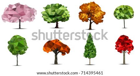 Set of low poly 3D vector trees. Cute colorful cartoon polygonal eco trees on the white background. Stylized low poly design logo element.