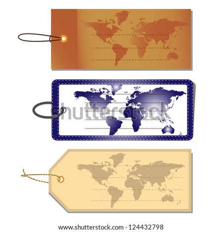 Set of Luggage Tags, World Map, Vector Illustration