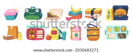 Set of Lunchboxes, Lunch and Bento Boxes Collection with Dinner, Fast Food and Healthy Vegetables Boxed in Containers and Bags. Packed Meals in Funny Childish Packing. Cartoon Vector Illustration