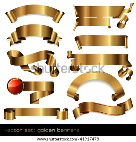 set of 10 luxurious golden banners/scrolls
