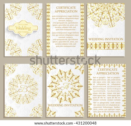 Set of Luxury  artistic brochure . Vector certificate template . Vintage art identity, floral card, magazine. Traditional, Islam, arabic, indian. Retro greeting card or wedding invitation design