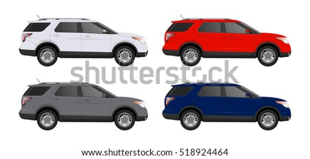 set of luxury car isolated of