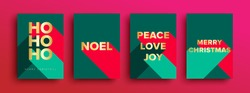 Set of Luxury Christmas Cards - Merry Christmas card set with luxury gold foil typography lettering. Christmas cards or invitation with 'HO HO HO' 'Merry Christmas' ' Noel' 'Peace Love Joy'