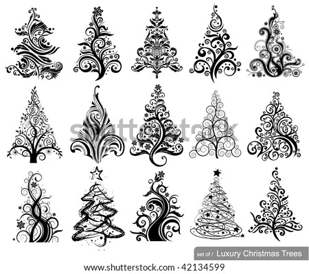 set of luxury christmas trees