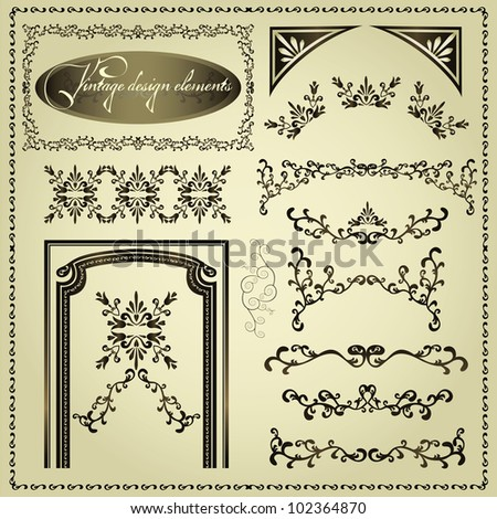 Set of luxury decorative vintage elements and borders, page decoration for design, vector