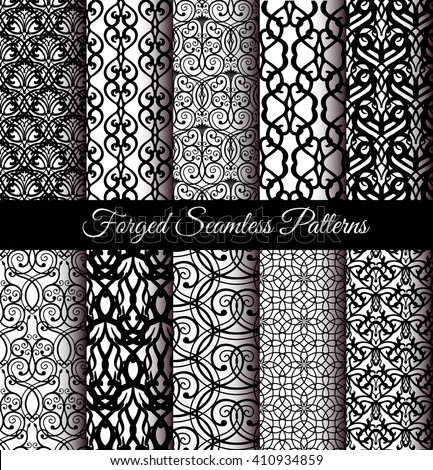 Set of luxury forged seamless patterns. Elegant weave ornament for wallpaper, fabric, paper, invitation print. Stylized damask vector background. Black and white flourish floral motif. Unusual vintage