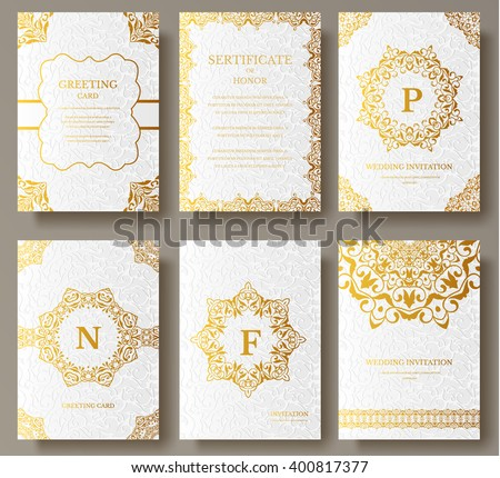 Shutterstock Set of Luxury Gold artistic pages with logo brochure template. Vintage art identity, floral, magazine. Traditional, Islam, arabic, indian. Decorative retro greeting card or invitation design