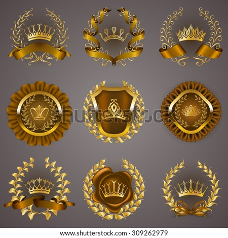 Set of luxury gold labels, medals, stickers, icons, logo with laurel wreath, filigree crowns, bow, wax seal, ribbons for page, web design. Royal heraldic elements in vintage style. Illustration EPS 10