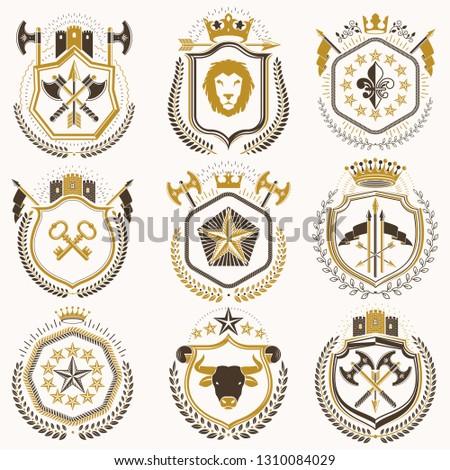 set of luxury heraldic vector