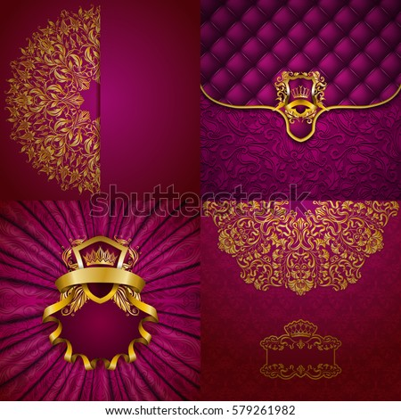 Set of luxury ornate backgrounds in vintage style. Elegant frame with floral elements, filigree ornament, gold crown, shield, ribbons, place for text on pink drapery fabric. Vector illustration EPS10