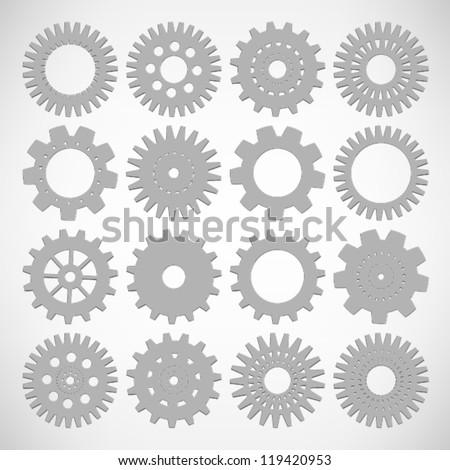 SET of Machine Gear Wheel Cogwheel Vector, EPS10 Vector background