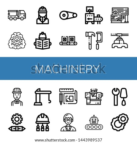 Set of machinery icons such as Crane truck, Gear, Engineer, Pulley, Conveyor, Tools, Rubber land, Manufacturer, Engineering, Crane, Blueprint, Technician, Machinery , machinery