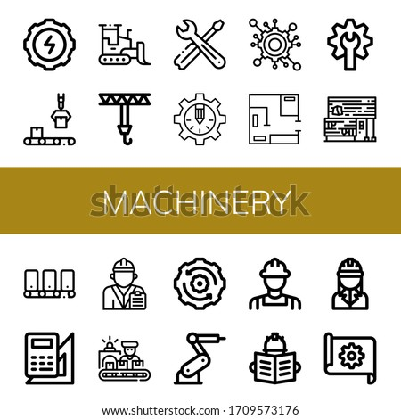 Set of machinery icons. Such as Gear, Conveyor, Bulldozer, Crane, Tools, Engineering, Blueprint, Rubber land, Engineer, Worker, Industrial robot , machinery icons