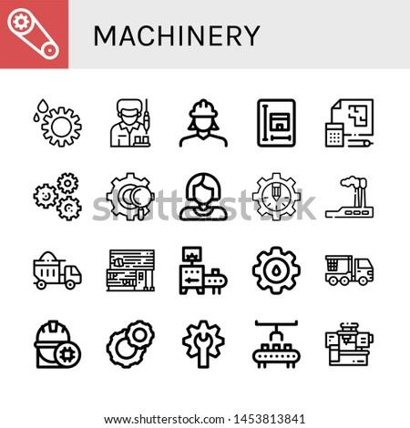 Set of machinery icons such as Gear, Worker, Engineer, Blueprint, Gears, Industry, Dumper, Rubber land, Conveyor, Cogwheel, Crane truck, Robot arm, Machinery , machinery
