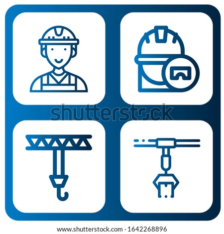 Set of machinery icons. Such as Worker, Engineer, Crane, Conveyor , machinery icons