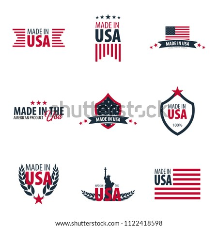 Set of Made in USA labels and badges on white background