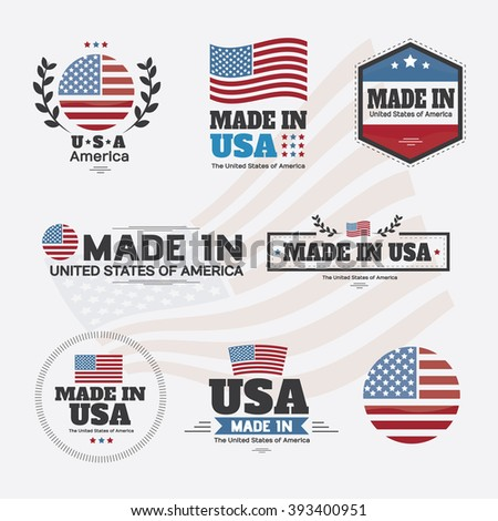 set of made in usa labels and