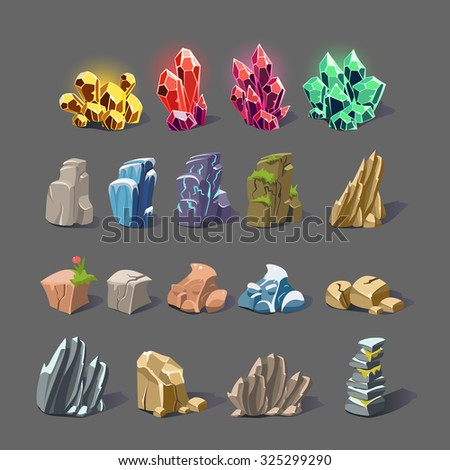 set of magic crystals  stones