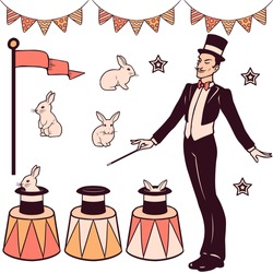 Set of magic performance elements, the magician, cylinder, white rabbits and decorations