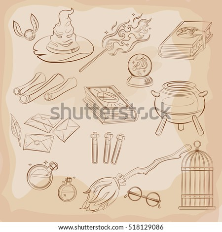 set of magic related vector