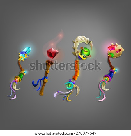 set of magic wand vector