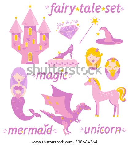 set of magical icons  fairy tale