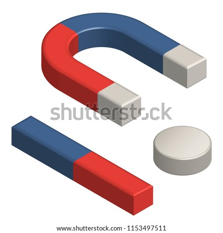 Set of magnets: horseshoe, bar and neodymium round disk. Isometric realistic vector illustration for educational articles. Red and blue magnets isolated on white. Symbol of magnetism and attraction.