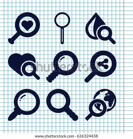 set of 9 magnifier filled icons