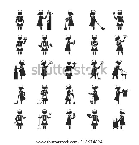 set of maid    human pictogram