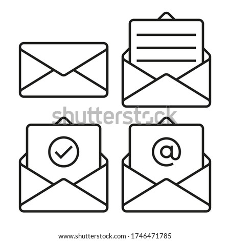 Set of mail envelope icons. Closed envelope, open with a letter, with a check mark and email. Outline vector icon with editable stroke