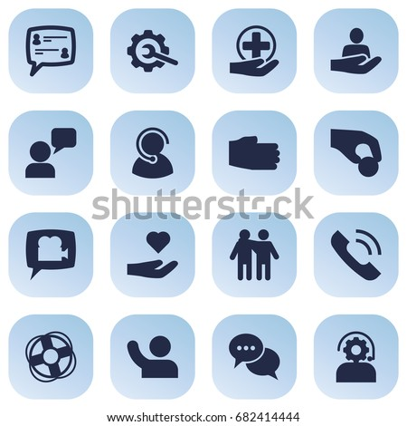 Set Of 16 Maintenance Icons Set.Collection Of Undertake, Care;, Technical And Other Elements.