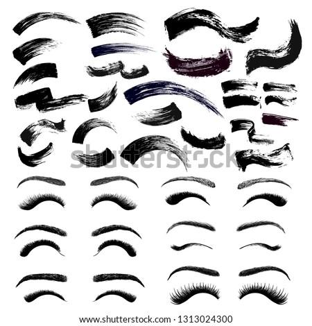 Set of make-up cosmetic mascara brush stroke texture design. False eyelashes and eyebrows. Realistic mascara smear template. Mascara eyelashes. Hand drawn lash scribble swatch. Vector illustration.