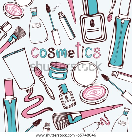 Set of makeup objects. Vector