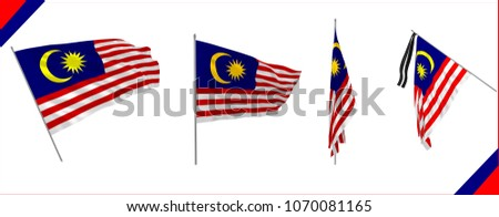 Set of Malaysia state waving flags in solemn or proud style. Vector illustration. Cloth or silk effect.