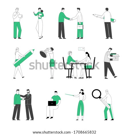 Set of Male and Female Business Characters with Huge Stationery Pen, Stamp, Magnifier, Handshake Deal Agreement, Negotiation. People Hiring at Work and Fired from Job. Linear Vector Illustration