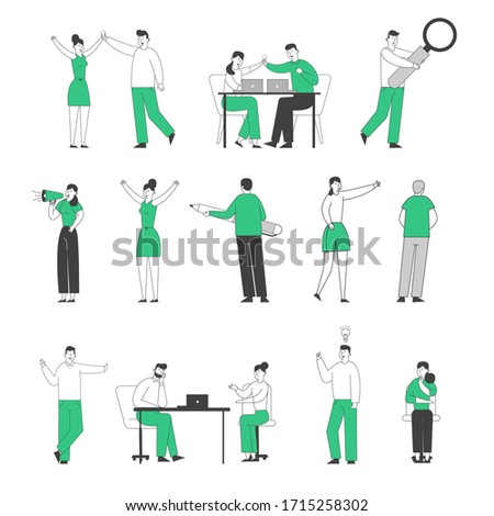Set of Male and Female Businesspeople Giving High Five, Working in Office on Laptop, Have Creative Idea. Tiny Characters Holding Huge Pen, Magnifier, Megaphone. Linear People Vector Illustration
