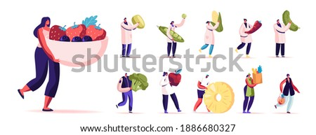 Set of Male and Female Characters Eating Healthy Food. Men and Women with Fruits and Vegetables Source of Energy and Health, Vegetarian Diet Isolated on White Background. Cartoon People Illustration
