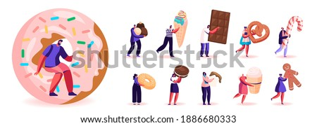 Set of Male and Female Characters Eating Sweets and Snacks. Men and Women Enjoying Different Appetizers Chocolate Bar, Ice Cream and Donut Isolated on White Background. Cartoon People Illustration