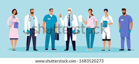 Set of male and female characters of doctors. Surgeons, doctors, nurses. Conceptual illustration, hospital medical team, poster. Vector template for design.