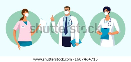 Set of male and female characters of doctors. Surgeons, doctors, nurses. Conceptual illustration, hospital medical team, poster. Vector template for design