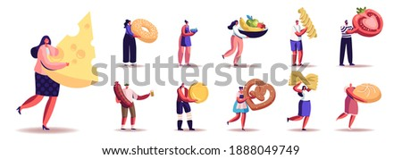 Set of Male and Female Characters with Different Food and Snacks. Men and Women Eat Cheese, Sausage, Fruits, Vegetable and Pasta or Bakery Isolated on White Background. Cartoon People Illustration