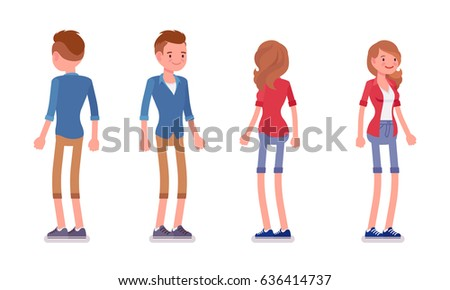 Set of male and female millennial, trendy hairstyle, smart casual dressing, chino shorts, standing pose, smiling, front, rear view, vector flat style cartoon illustration, isolated, white background